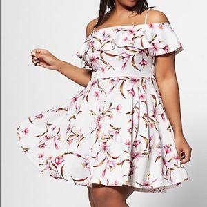 Floral cute white dress